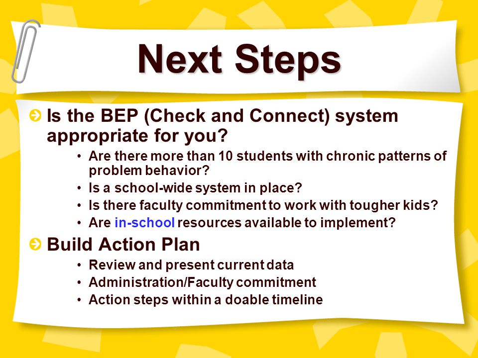 Next Steps Is the BEP (Check and Connect) system appropriate for you