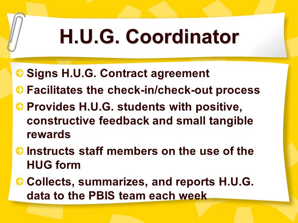H.U.G. Coordinator Signs H.U.G. Contract agreement