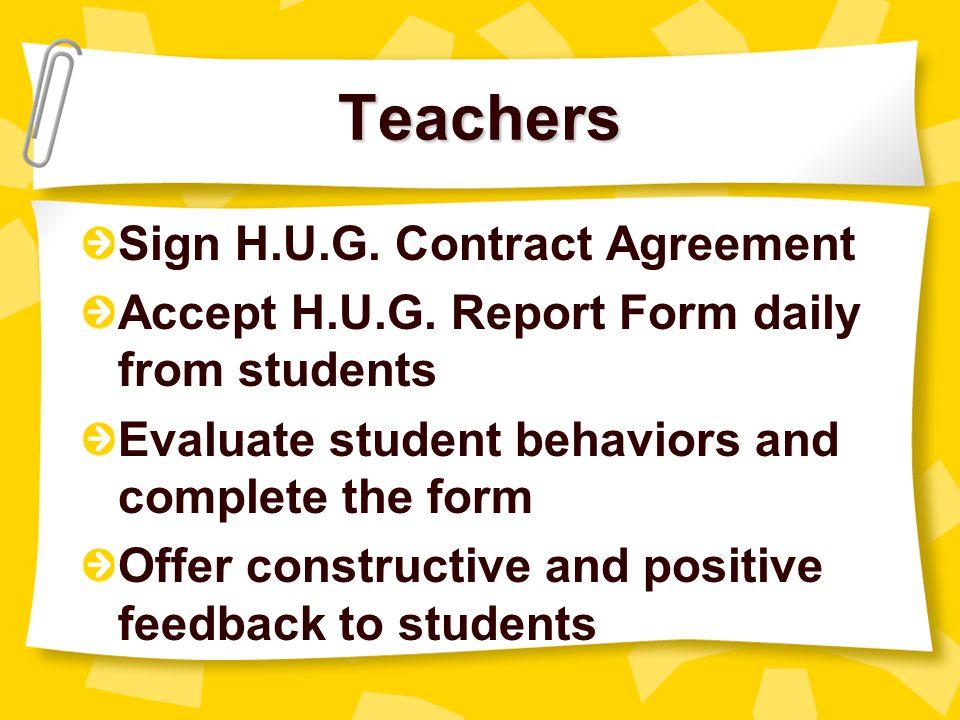 Teachers Sign H.U.G. Contract Agreement