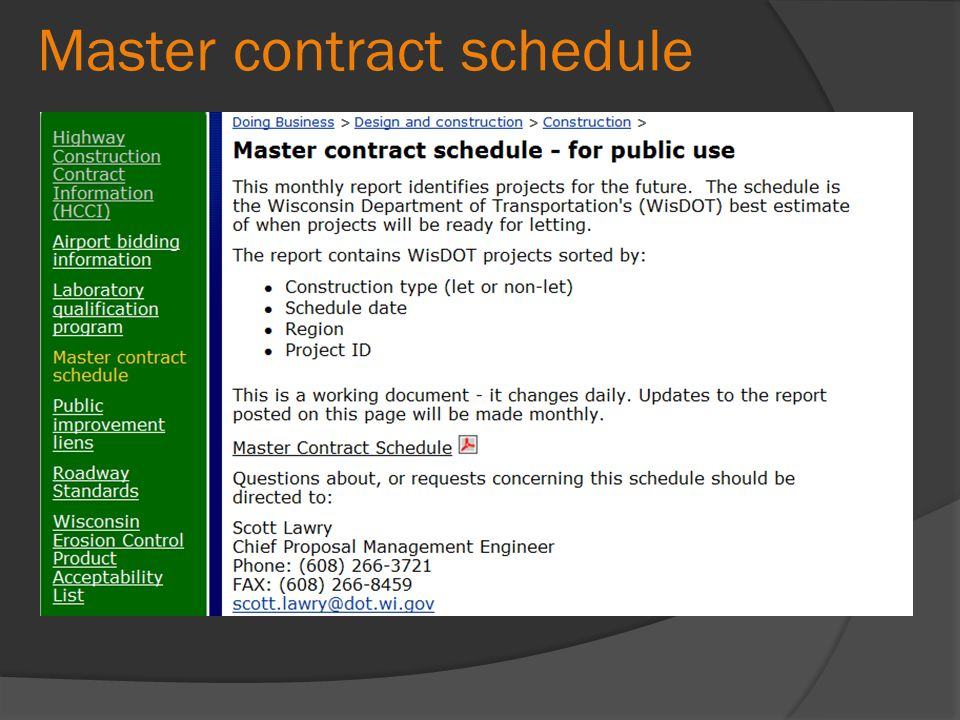Master contract schedule