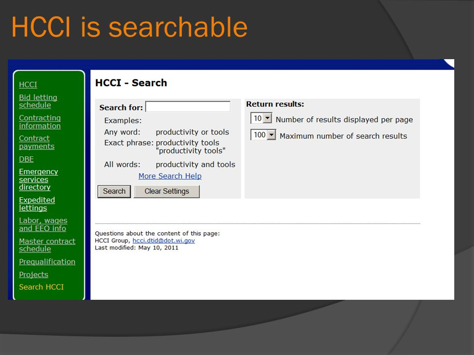 HCCI is searchable