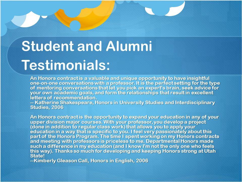 Student and Alumni Testimonials: