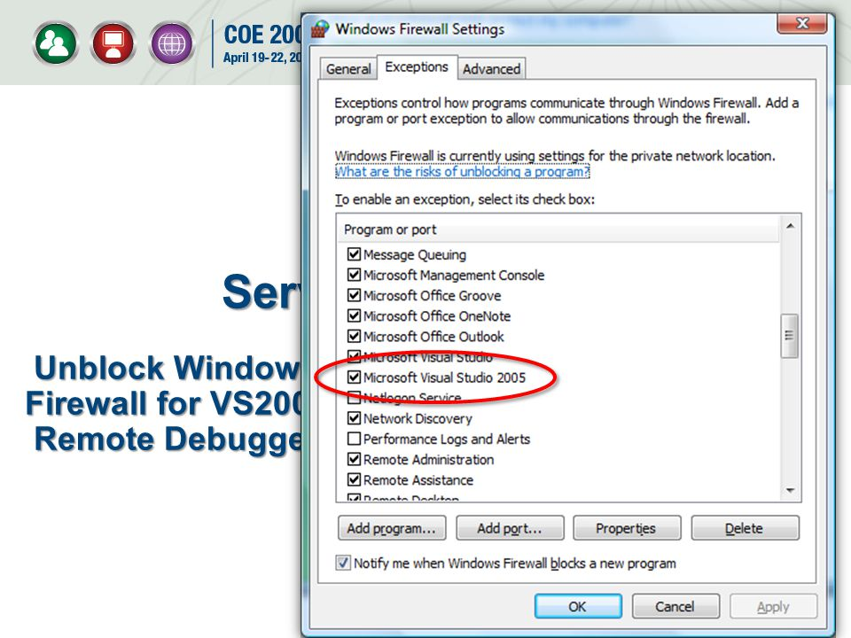 Unblock Windows Firewall for VS2005 Remote Debugger