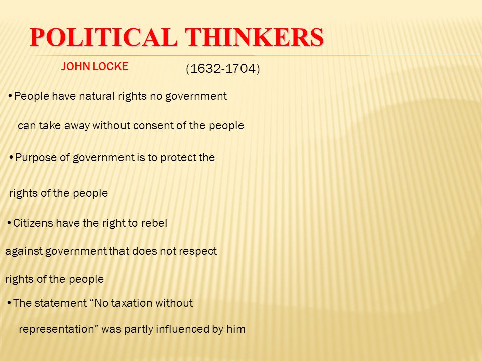 Political Thinkers (1632-1704) JOHN LOCKE