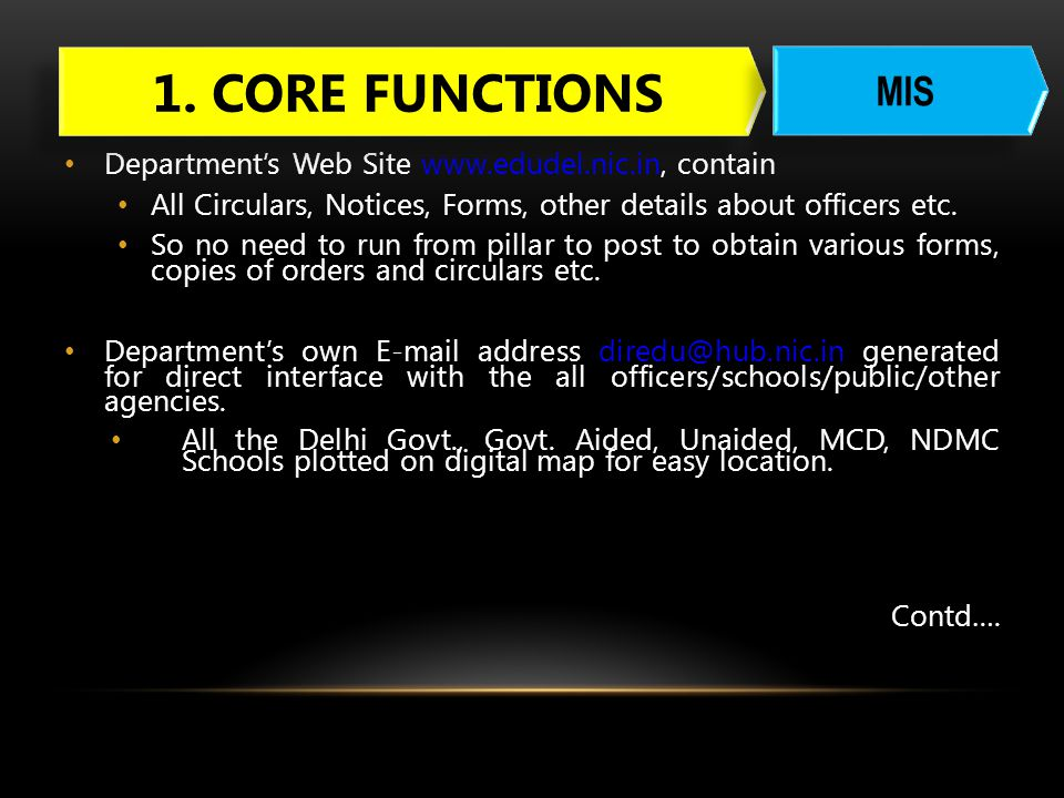 1. CORE FUNCTIONS MIS Department's Web Site www.edudel.nic.in, contain