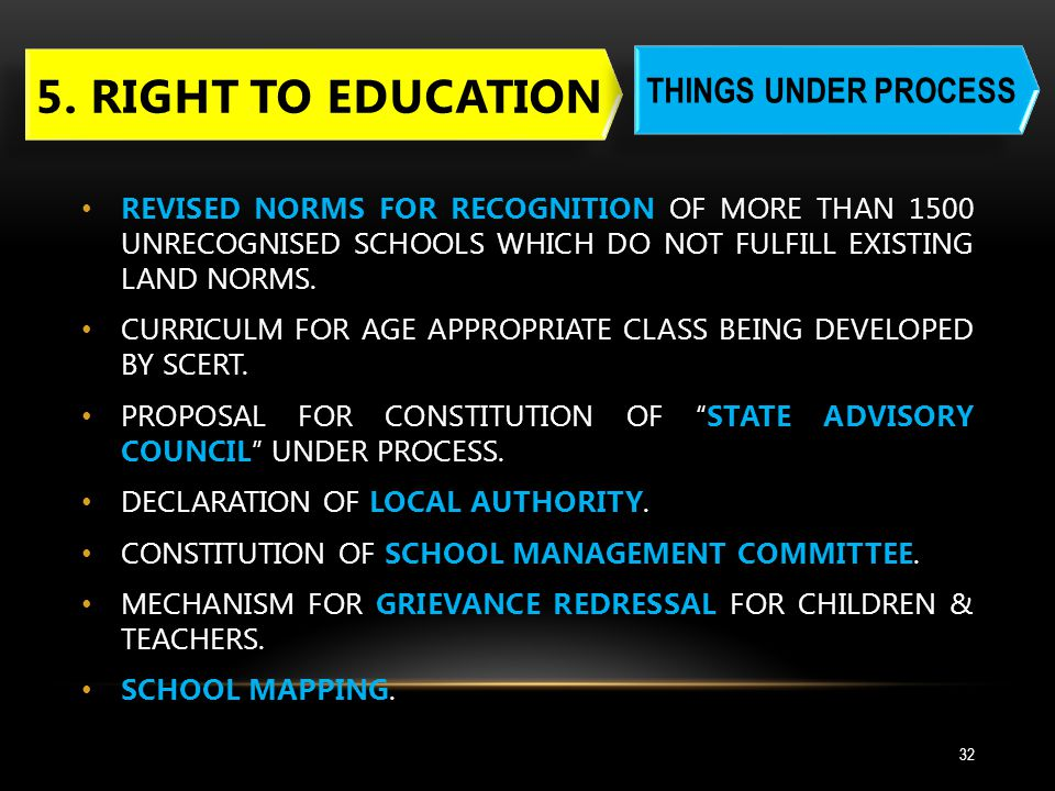 5. RIGHT TO EDUCATION THINGS UNDER PROCESS