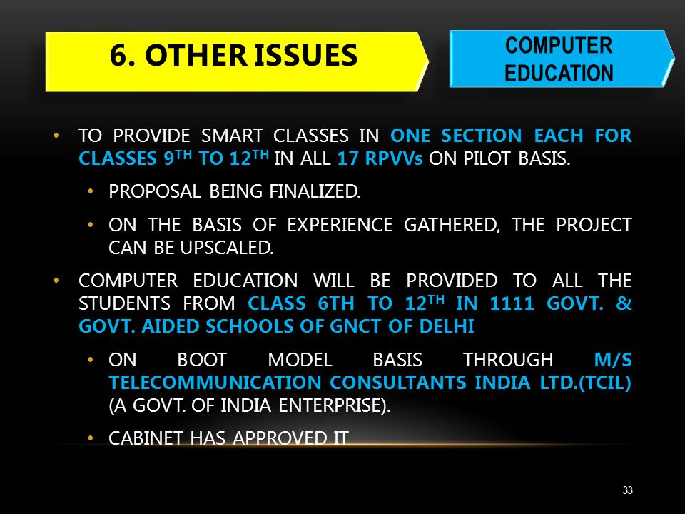 6. Other issues COMPUTER EDUCATION