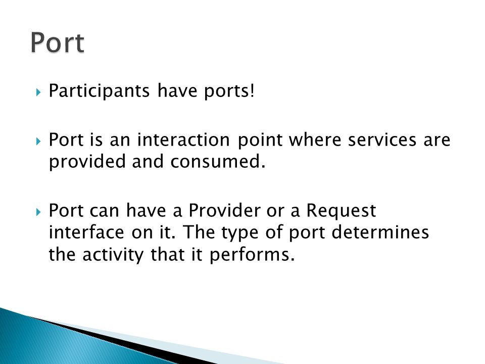 Port Participants have ports!