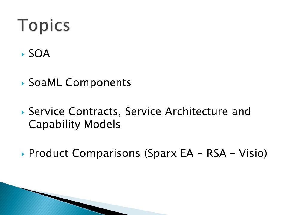 Topics SOA SoaML Components