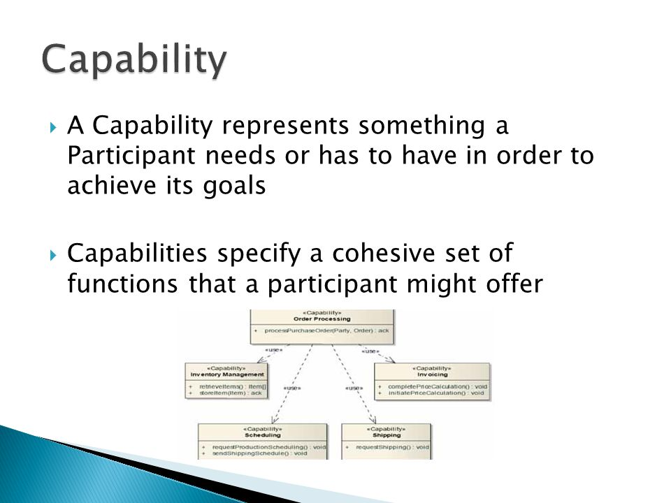 Capability A Capability represents something a Participant needs or has to have in order to achieve its goals.
