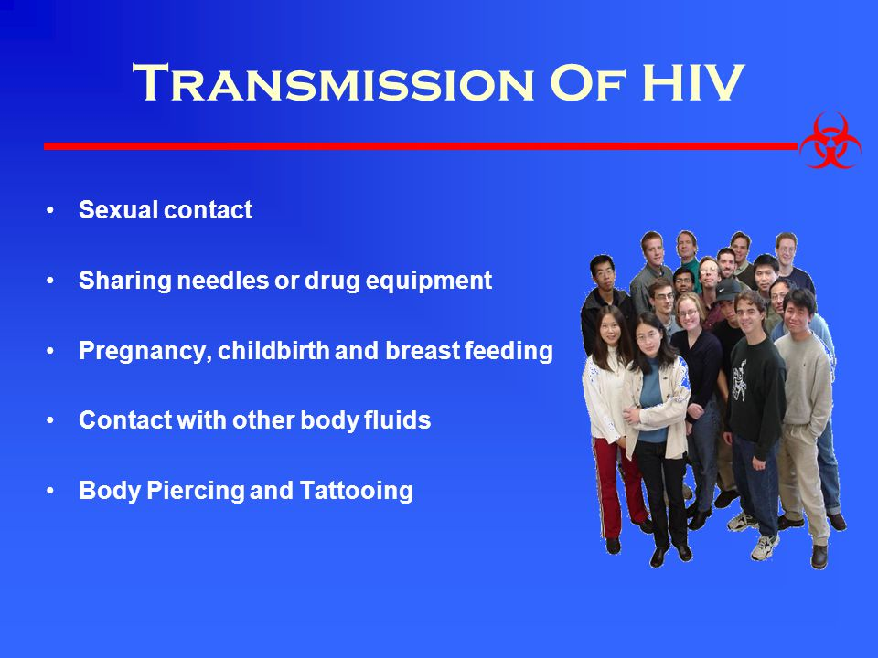 Transmission Of HIV Sexual contact Sharing needles or drug equipment