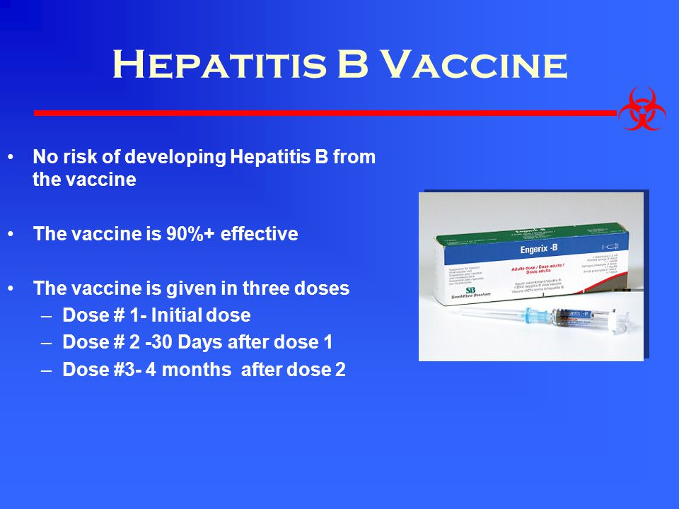 Hepatitis B Vaccine No risk of developing Hepatitis B from the vaccine