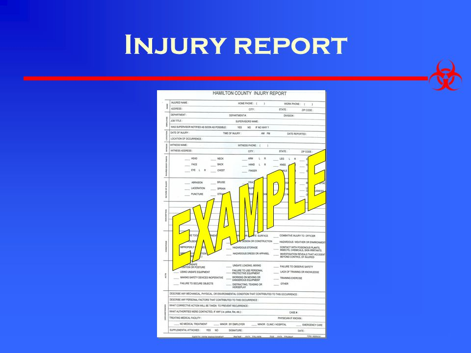 Injury report EXAMPLE
