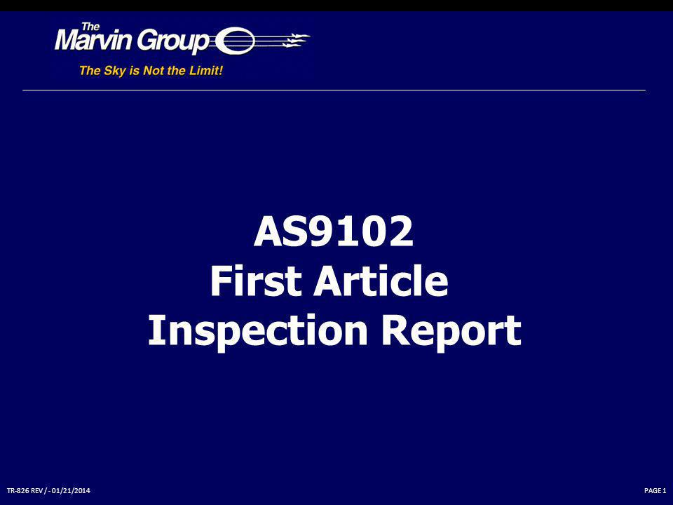 AS9102 First Article Inspection Report