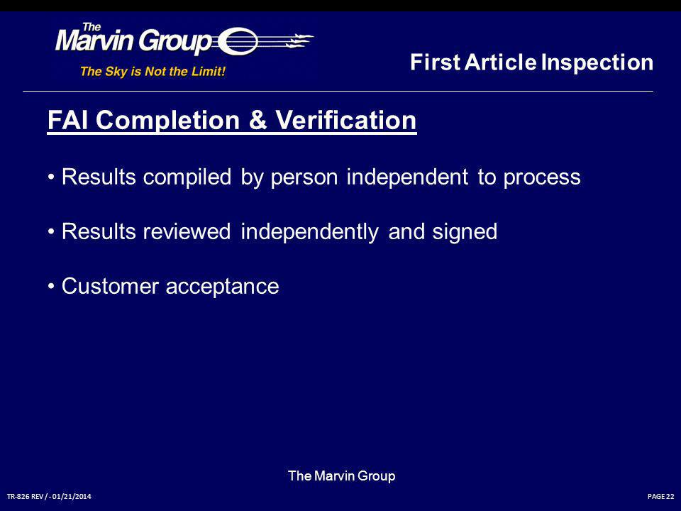 FAI Completion & Verification
