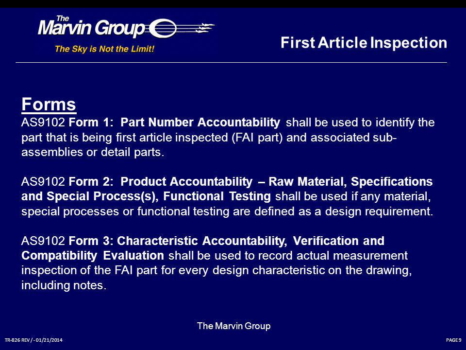 Forms First Article Inspection