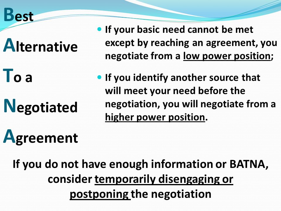 Best Alternative To a Negotiated Agreement
