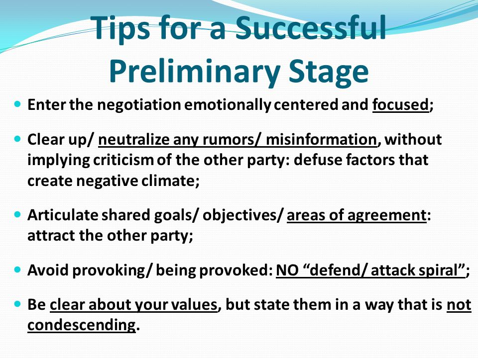 Tips for a Successful Preliminary Stage