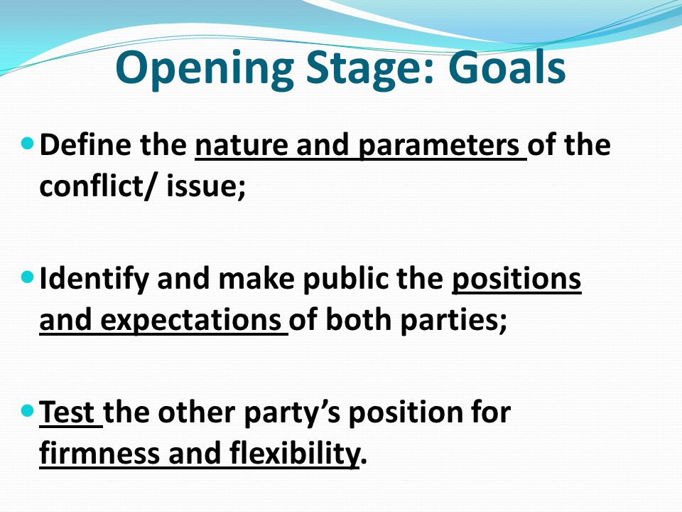 Opening Stage: Goals Define the nature and parameters of the conflict/ issue;