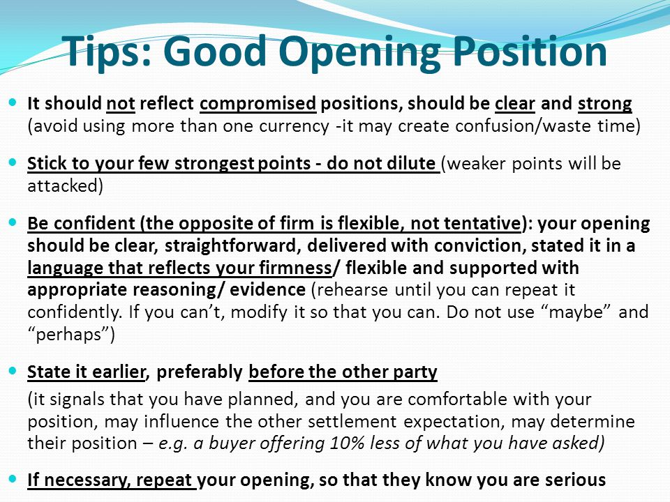 Tips: Good Opening Position
