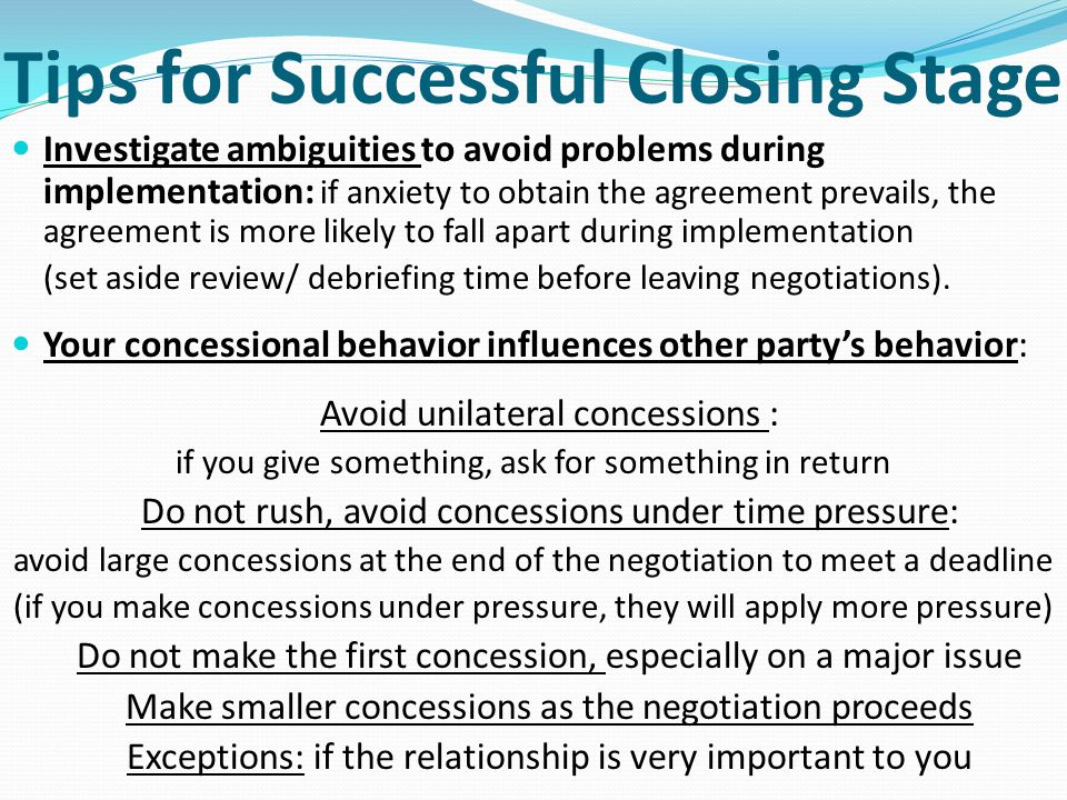 Tips for Successful Closing Stage