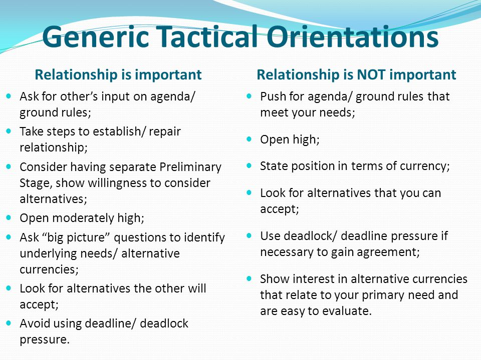 Generic Tactical Orientations