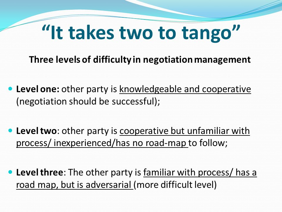 Three levels of difficulty in negotiation management
