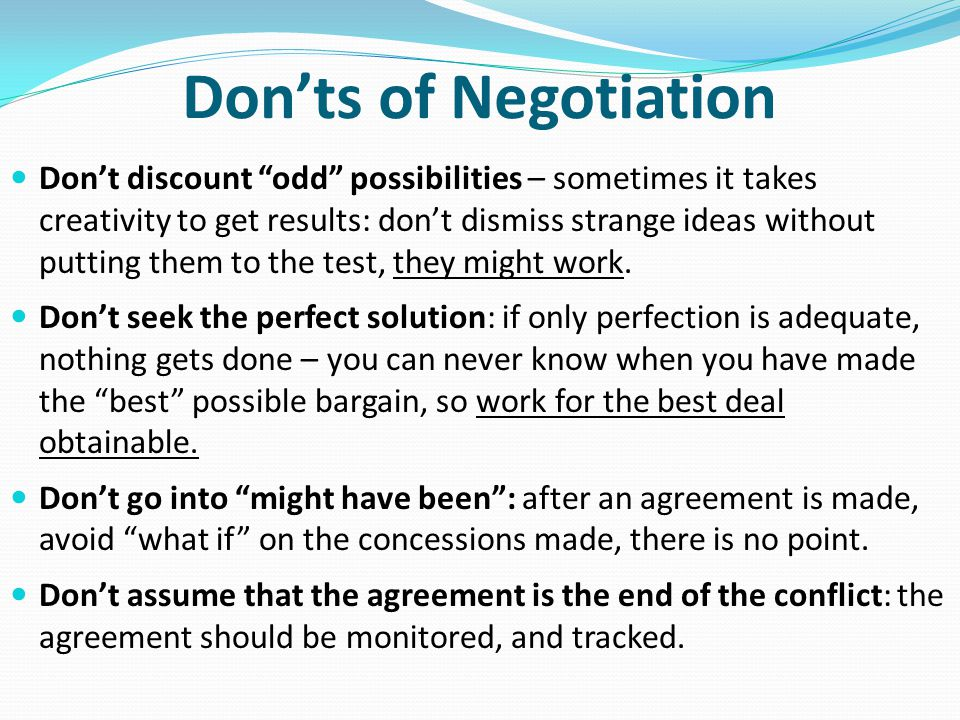 Don'ts of Negotiation