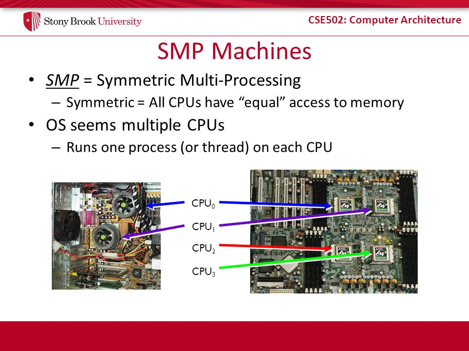SMP Machines SMP = Symmetric Multi-Processing OS seems multiple CPUs