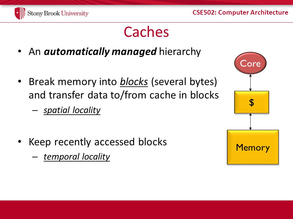 Caches An automatically managed hierarchy