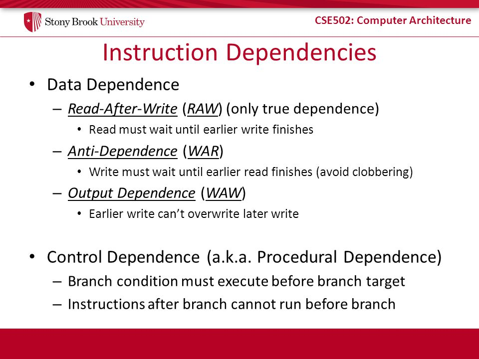 Instruction Dependencies