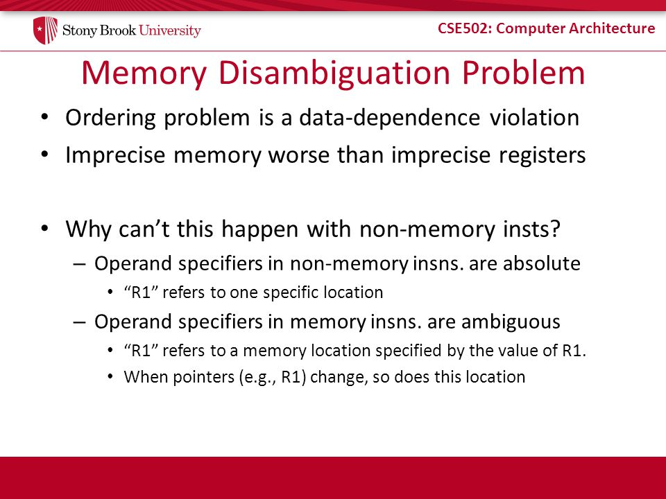 Memory Disambiguation Problem