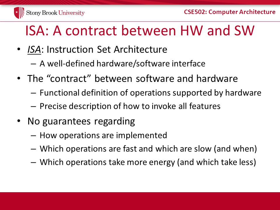 ISA: A contract between HW and SW