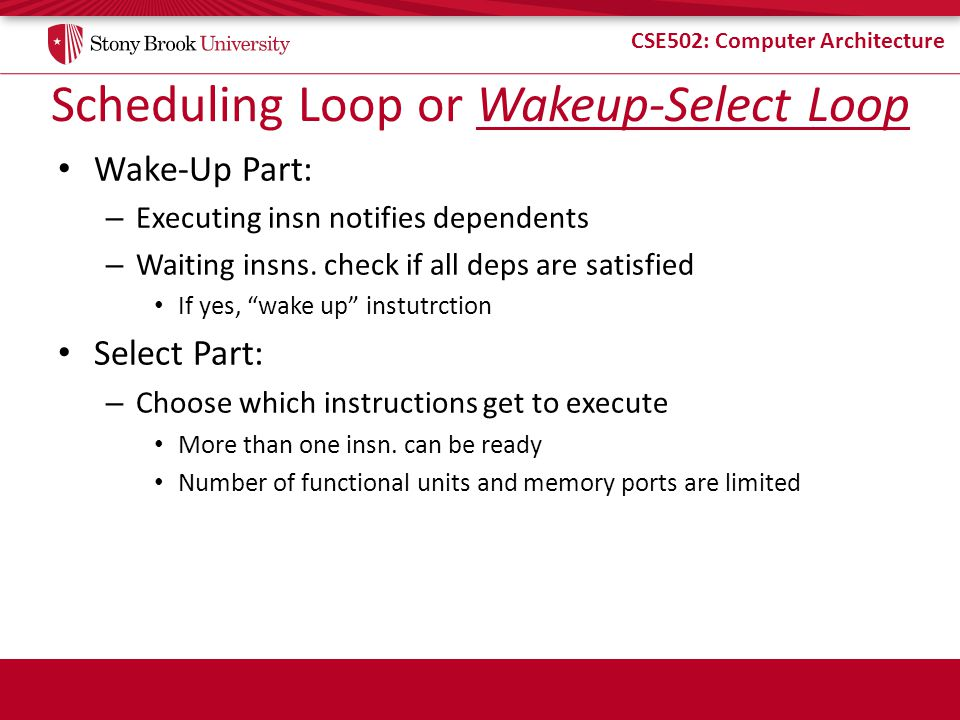 Scheduling Loop or Wakeup-Select Loop
