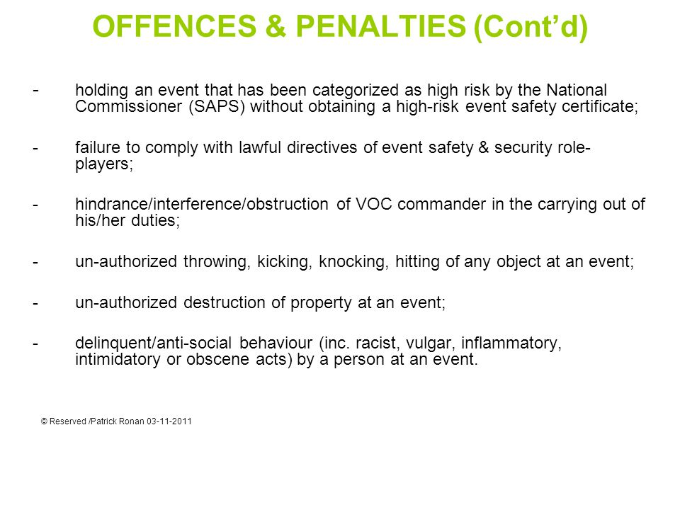 OFFENCES & PENALTIES (Cont'd)