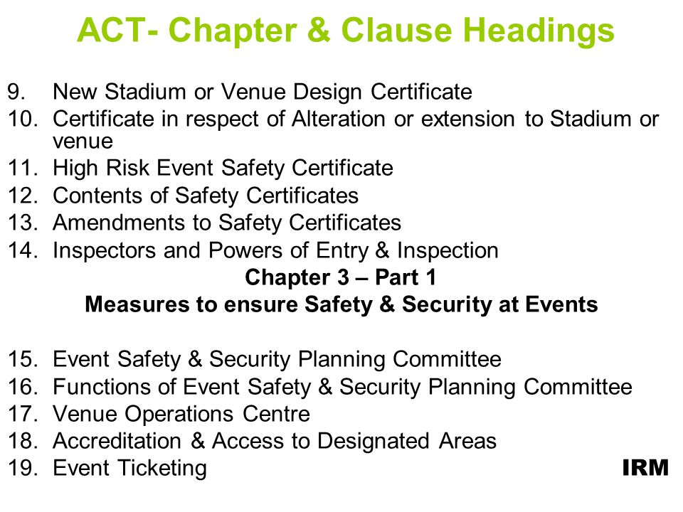 ACT- Chapter & Clause Headings
