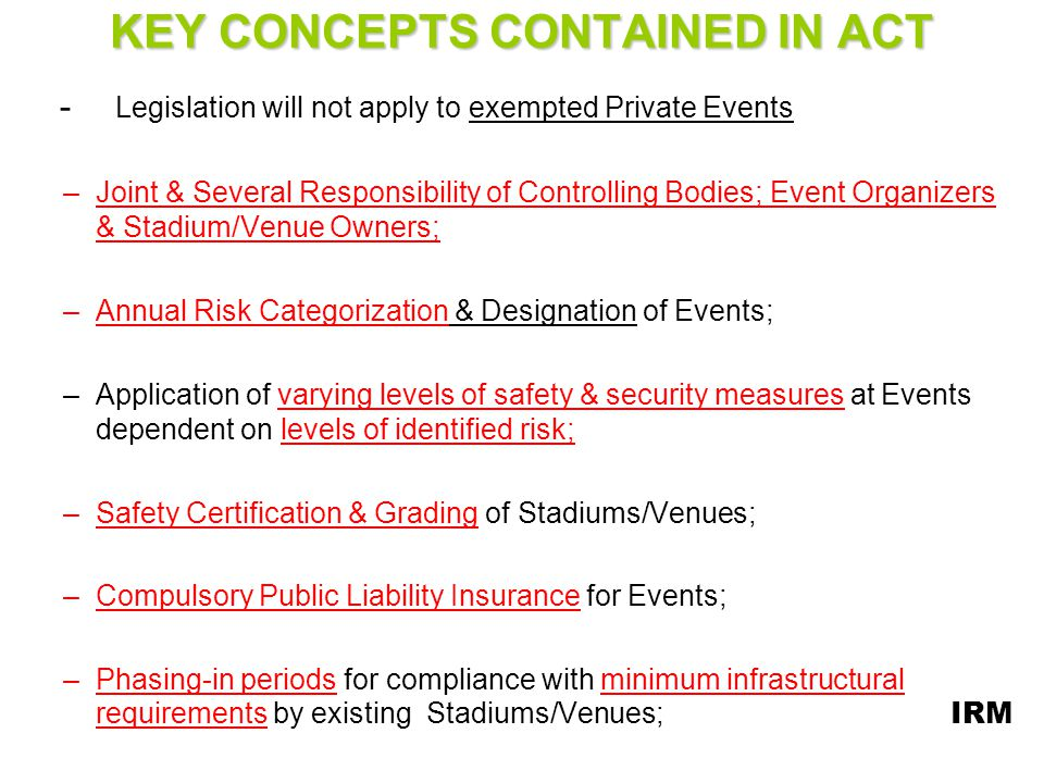 KEY CONCEPTS CONTAINED IN ACT