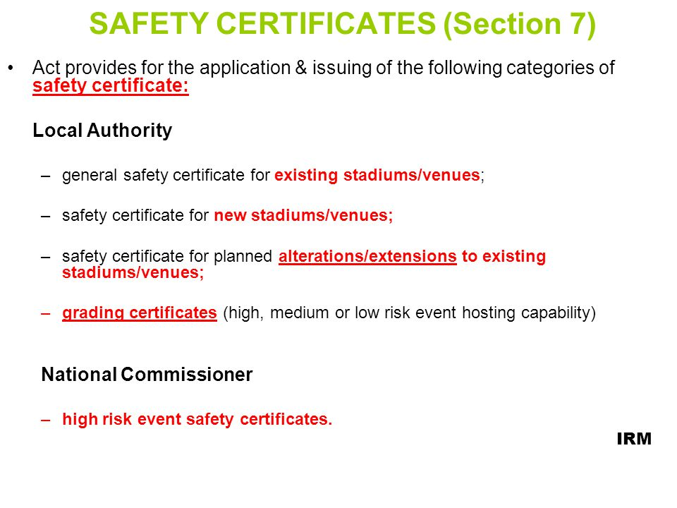 SAFETY CERTIFICATES (Section 7)
