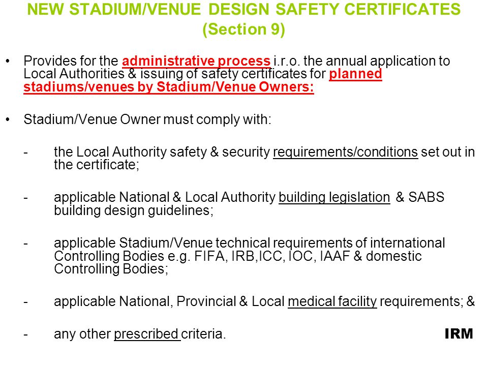 NEW STADIUM/VENUE DESIGN SAFETY CERTIFICATES (Section 9)