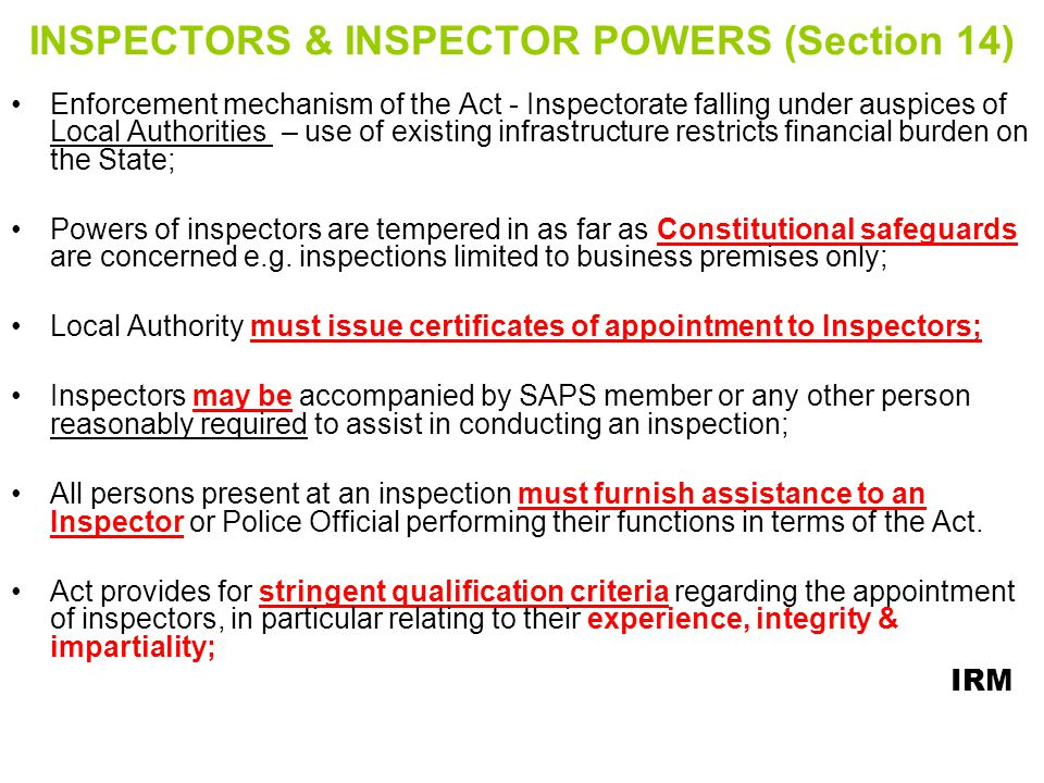 INSPECTORS & INSPECTOR POWERS (Section 14)