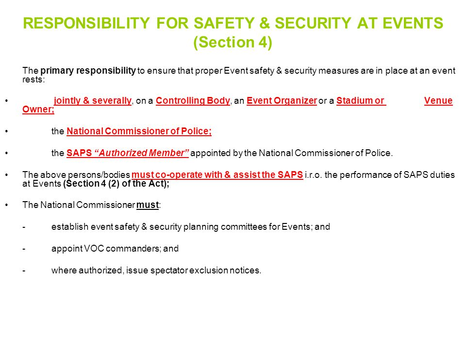 RESPONSIBILITY FOR SAFETY & SECURITY AT EVENTS (Section 4)