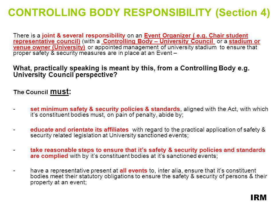 CONTROLLING BODY RESPONSIBILITY (Section 4)