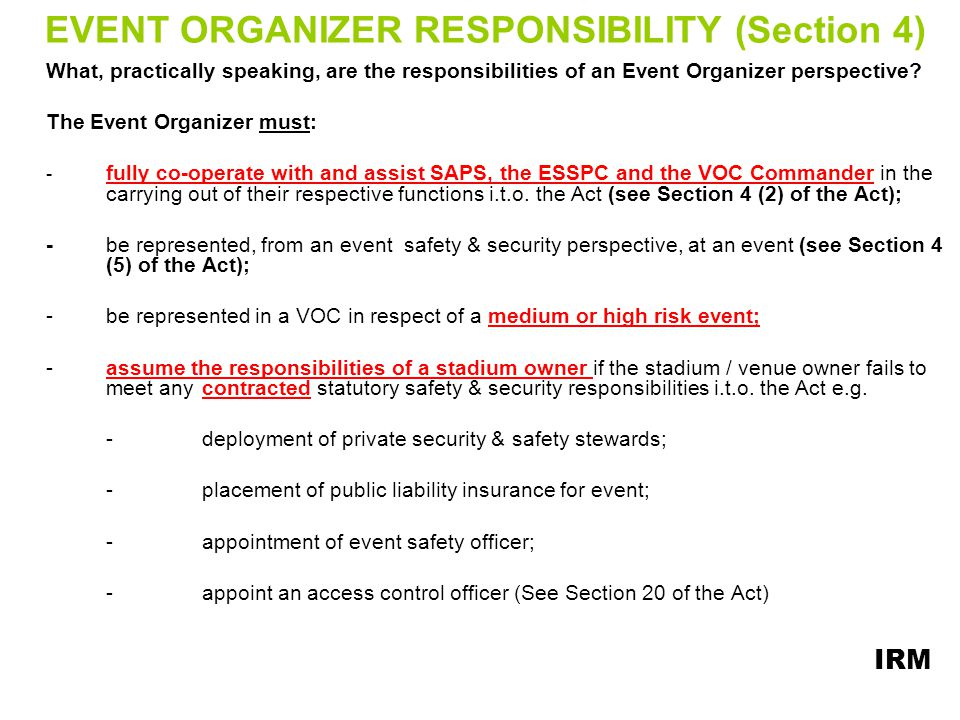 EVENT ORGANIZER RESPONSIBILITY (Section 4)