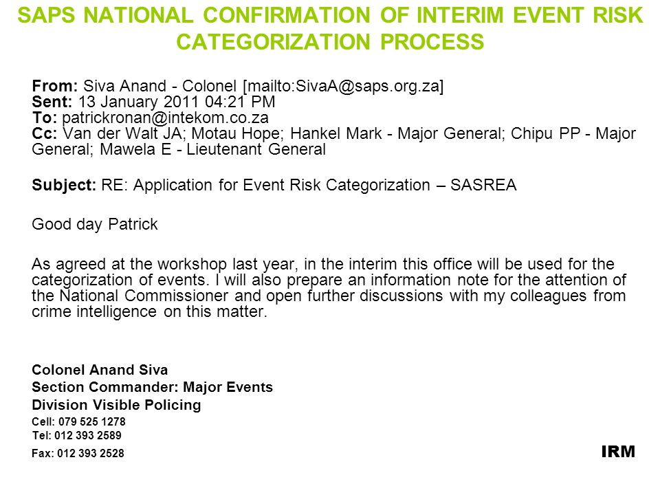 SAPS NATIONAL CONFIRMATION OF INTERIM EVENT RISK CATEGORIZATION PROCESS