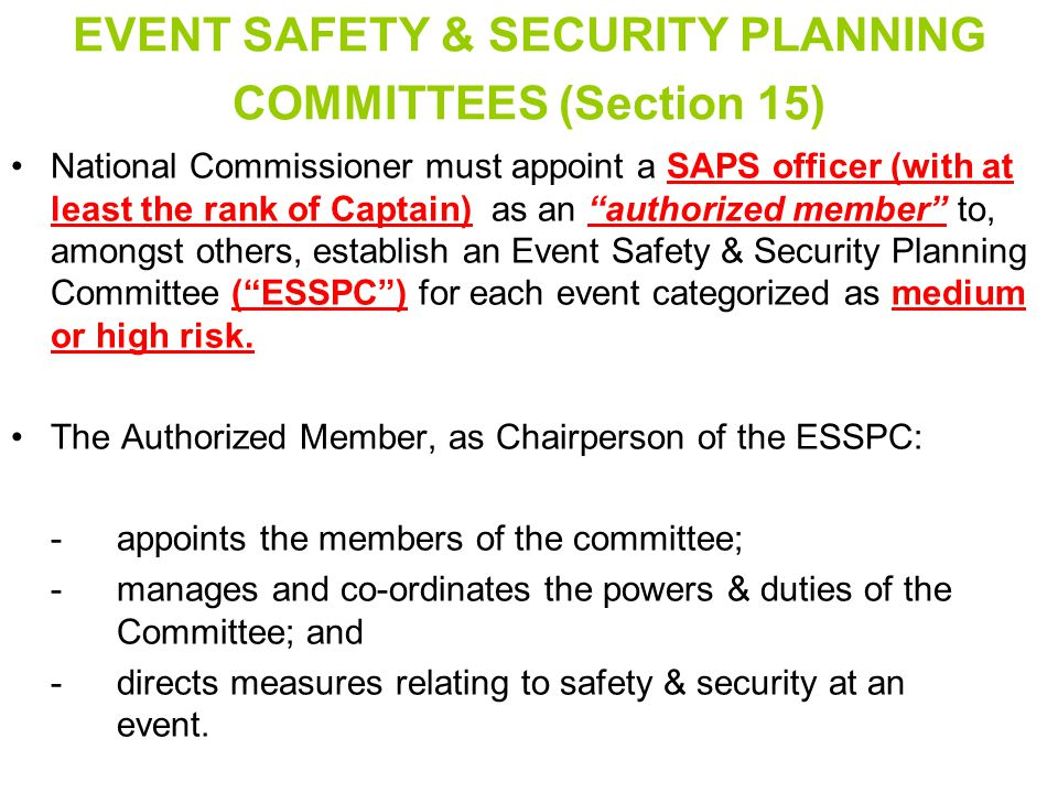 EVENT SAFETY & SECURITY PLANNING COMMITTEES (Section 15)