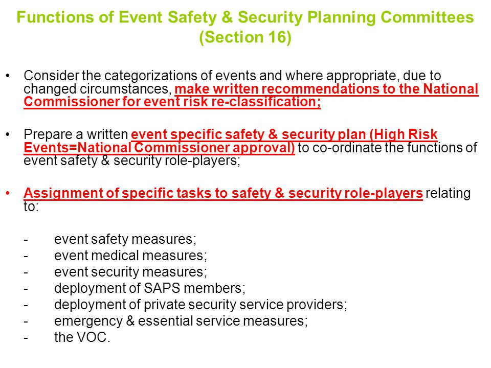Functions of Event Safety & Security Planning Committees (Section 16)