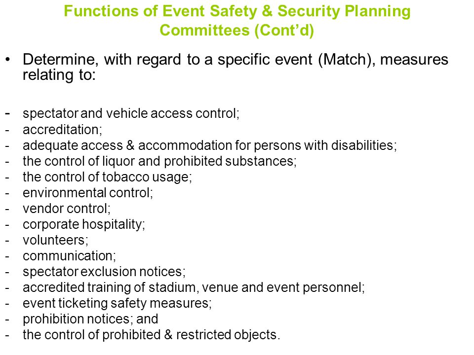 Functions of Event Safety & Security Planning Committees (Cont'd)