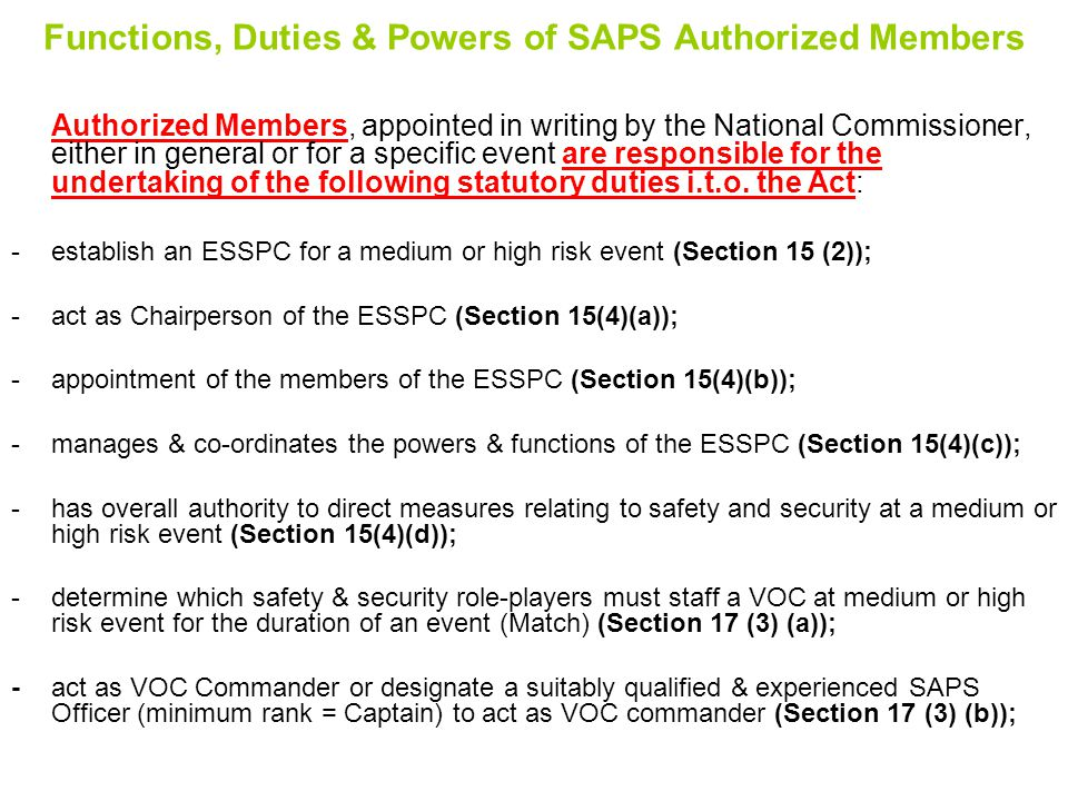 Functions, Duties & Powers of SAPS Authorized Members