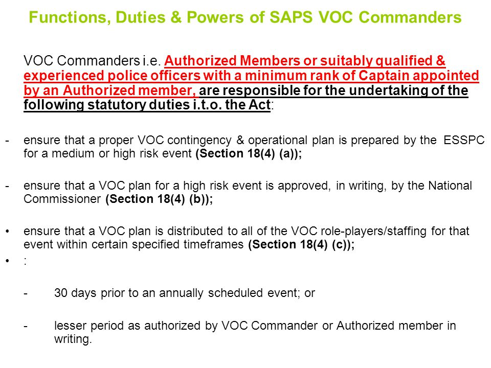 Functions, Duties & Powers of SAPS VOC Commanders