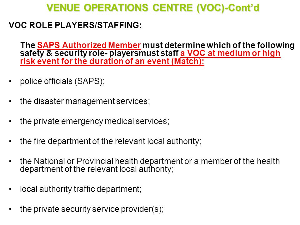 VENUE OPERATIONS CENTRE (VOC)-Cont'd